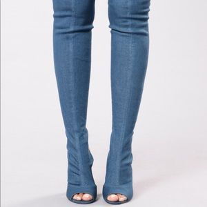Fashion Nova - Kristy Knee High Denim Boots